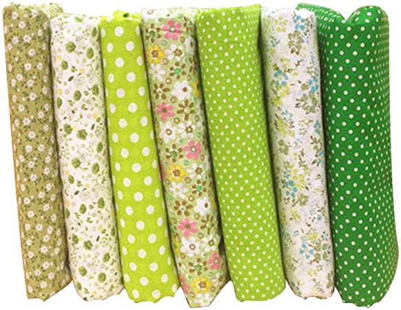 Vikenner 7pcs Verde Flor Tela Patchwork Telas cuadradas Algodón liso Tela de Coser Retazos Tela de algodón hecha a mano para coser cojín acolchado ropa de muñecas: Amazon.es: Hogar