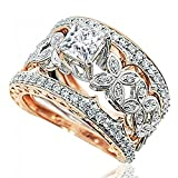14K Rose and White Gold Bridal Set Leaf Style 0.7ctw Diamonds 5mm Princess Cut Moisannite