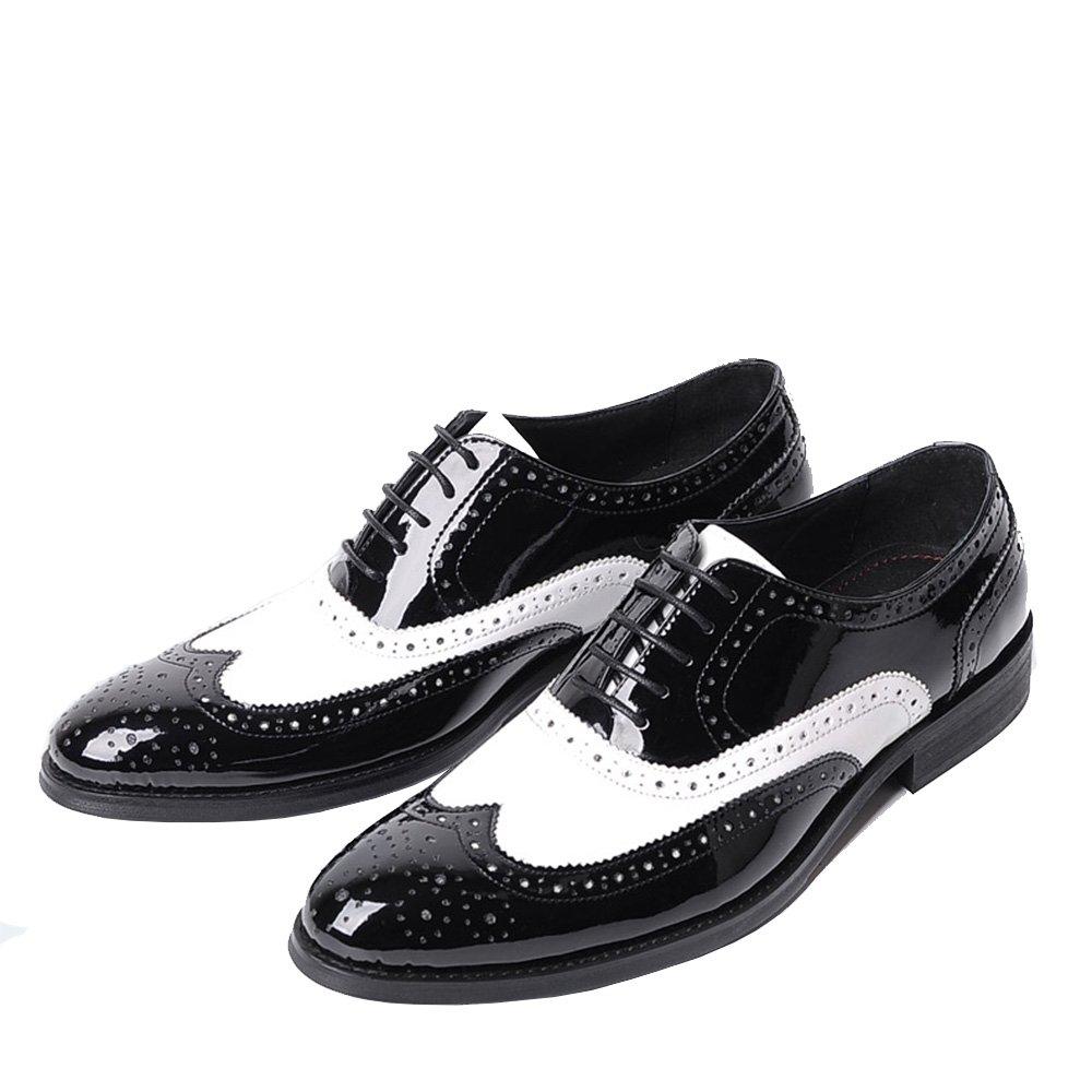 LHLWDGG.K Zapatos De Hombre Retro De Los Hombres Zapatos Negros De Estilo Blanco Zapatos De Audiencias Artesanales, Negro, 10 10|Black