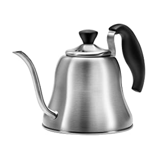Chefbar Pour Over Coffee Kettle Tea Kettle, Gooseneck Coffee Kettle Brushed Stainless Steel Stovetop Teakettle for Pour Over Coffee, Gooseneck Pour Over Kettle for Drip Coffee and Tea 40 oz (1.2L)