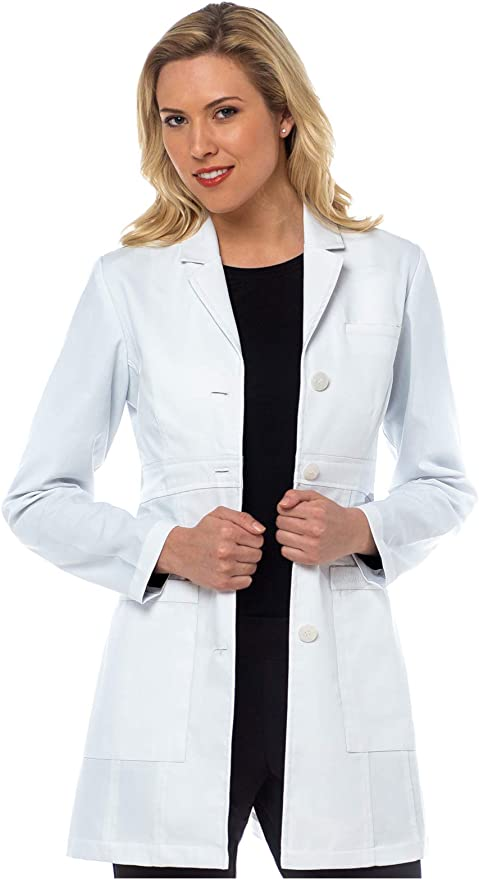 """Med Couture Women/'s Belted Back 34/"""" Mid Length Lab Coat 8692"""