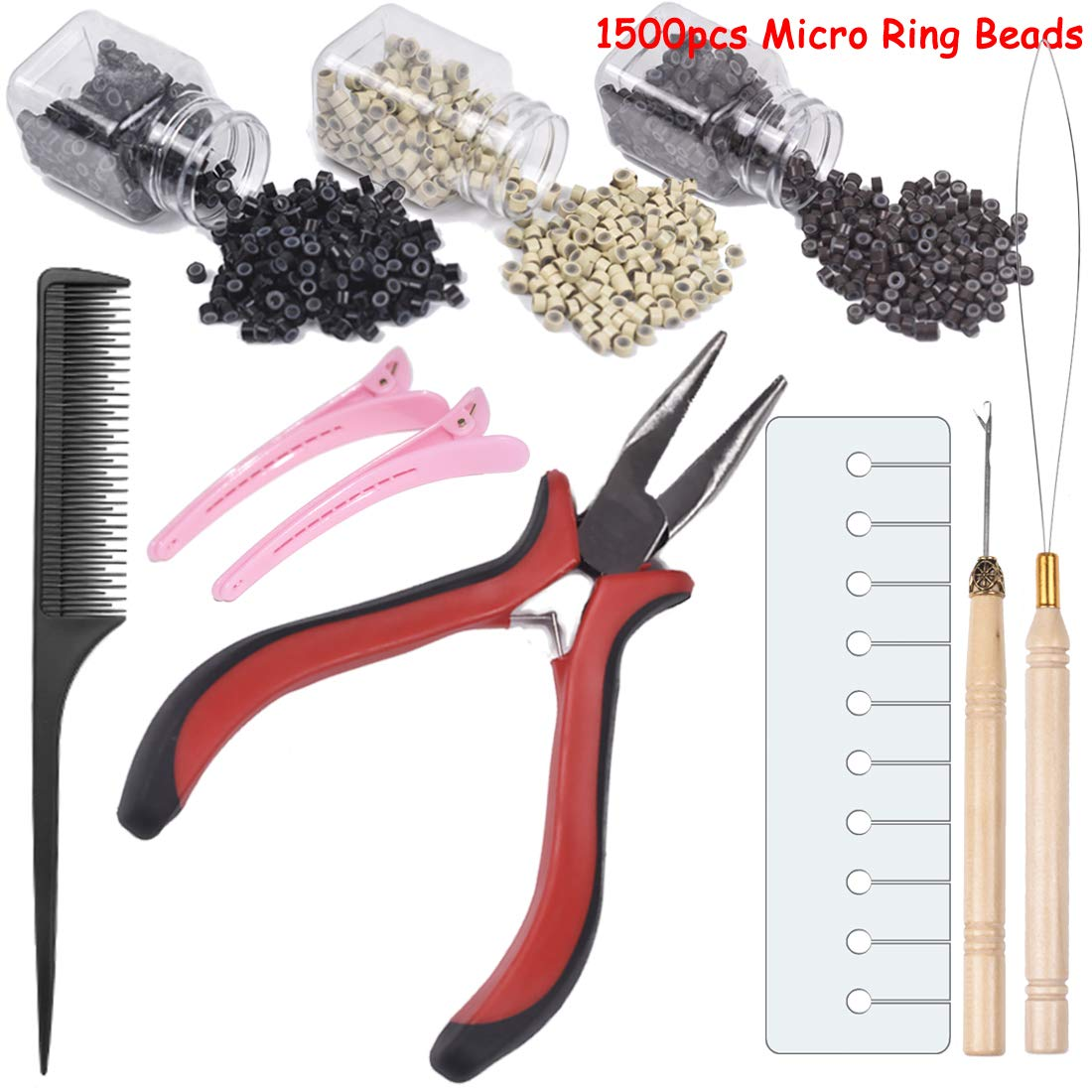 Hair Extensions Kits for Micro Ring Link Hair and Feather Extensions 1500Pcs 0.2 Inches Micro Ring Beads (black brown blonde) 1 Pliers 2 Hook Needle Pulling Loop 1 Comb 2 Hair Clip 1 Hair Helpful Card by SUNiYA