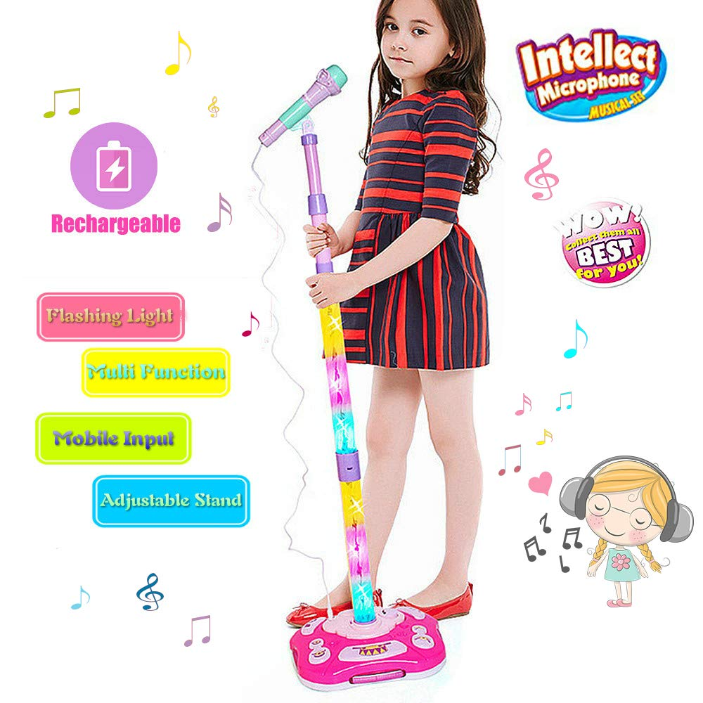 FillADream Kids Karaoke Machine, Kids Microphone Music Toy Play Set with Microphone & Adjustable Colorful LED Stand, AUX Cable Connect to Mobile Music Device (Blue)