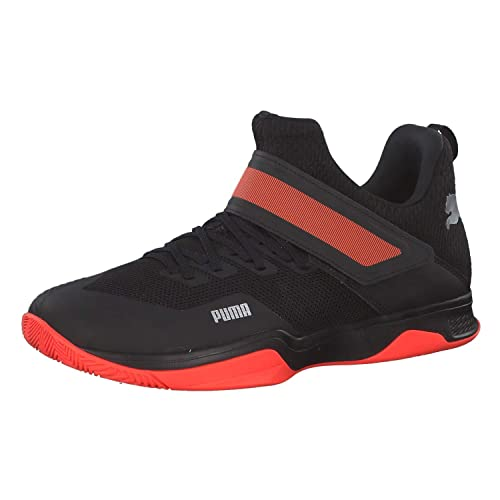 Black-Silver-nrgy Red Badminton Shoes
