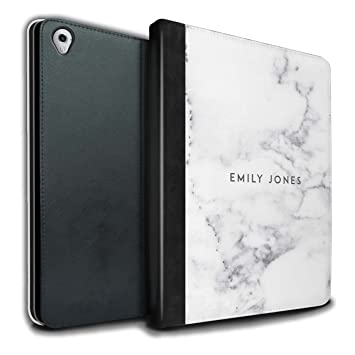 promo code 2fd84 86089 Stuff4 Personalised Custom Marble PU Leather Case for Apple iPad Pro 9.7 /  Pearl White Stamp Design/Initial/Name/Text DIY Tablet Book Cover