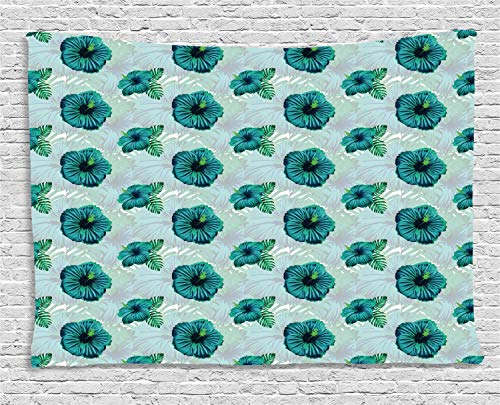 YouXianHome Tropical Tapestry Tablecloth, Hawaiian Exotic Jungle Hibiscus Flower, Tapestry Wall Hanging for Men, 60 W x 40 L Inches, Dark Seafoam Sea Green Shamrock Green Dark Petrol Blue]()