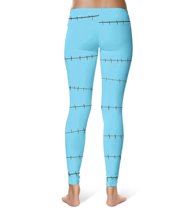 Full Length Mid//High Waist Stitches Jack Skellington Inspired Sport Leggings