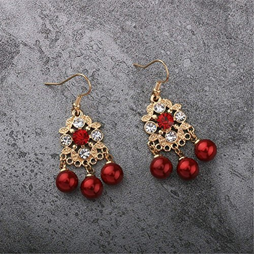 LeNG Earrings For Women NEW Classical Ear Stud With Red Pearl Round Shape Earrings Fine Jewelry EH007,Aspicture by LeNG Earrings (Image #5)