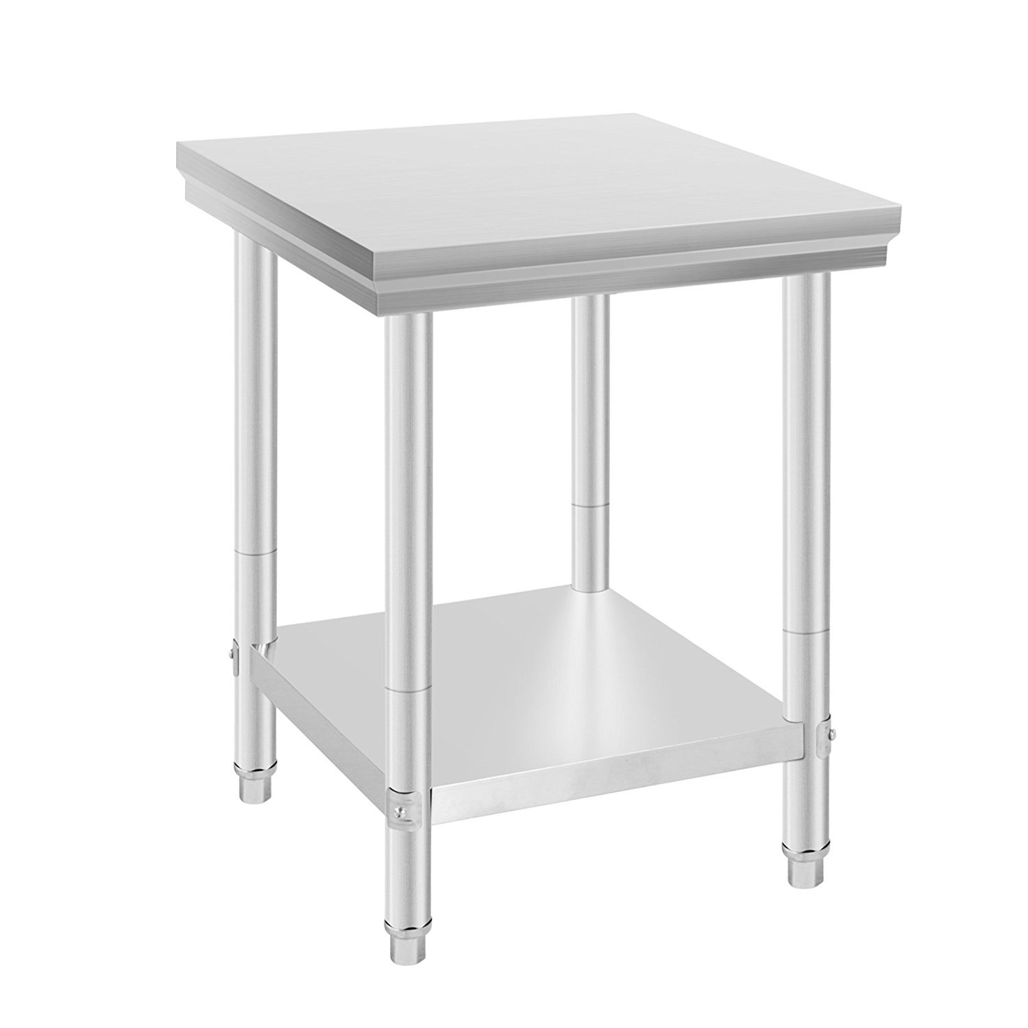 Happybuy NSF Stainless Steel Work Table for Commercial Kitchen Prep Work Table with Lower Shelf Work Table Silvery 24 x 24 inches