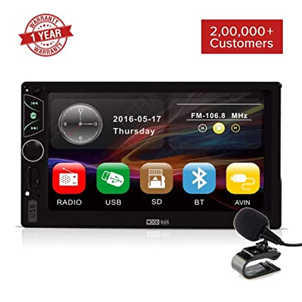 Woodman Wow1 MP5 Touch Screen Car Music System Car Stereo with Mirror Link  & External Mic (Double Din) (Wow 1, Without Camera)