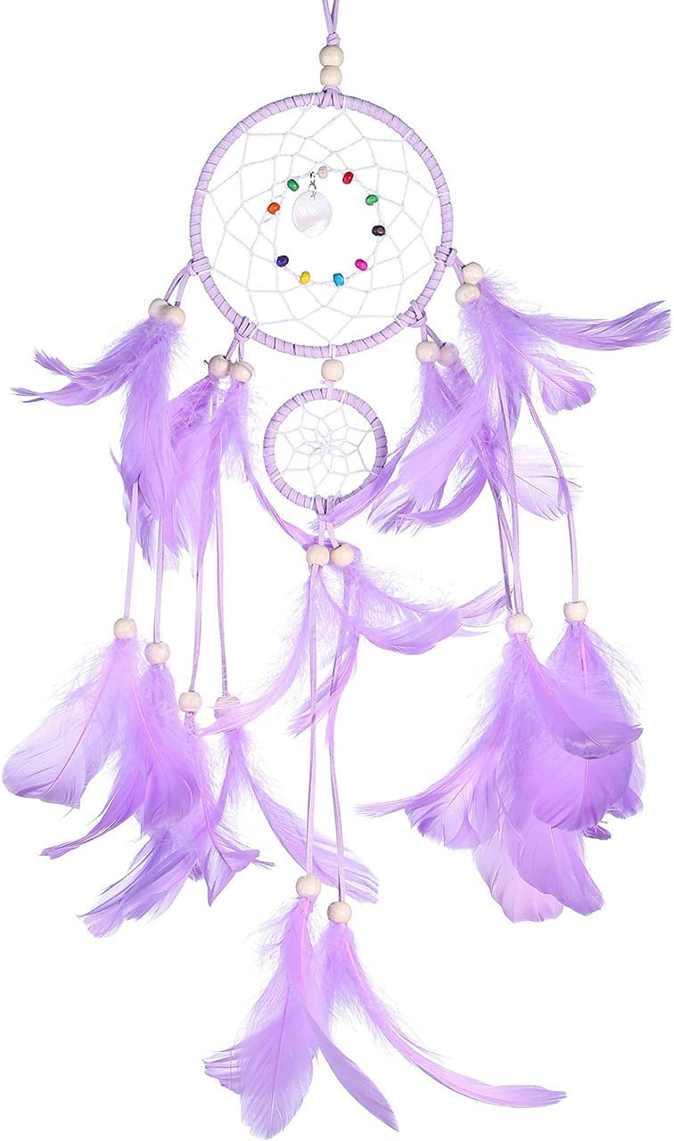 Top Plaza Purple Dream Catchers for Wall Window Bedroom Home Living Room Decoration Colorful Feather Dream Catcher for Womens Girls Kids Mom Gifts