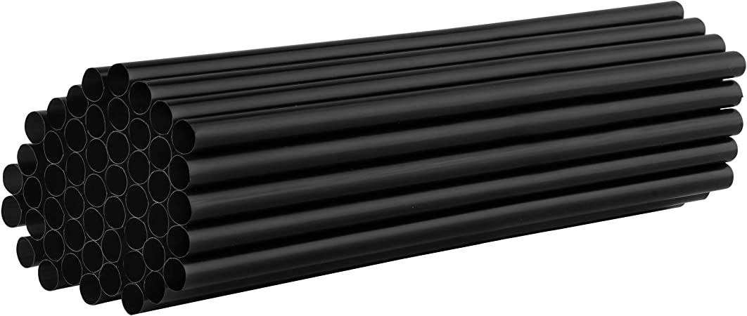 Black Package of 250 Perfect for Milkshakes Jumbo Plastic Straws for Smoothies Fruit Shakes and All Other Drinks Black Drinking Straws 8mm X 210mm