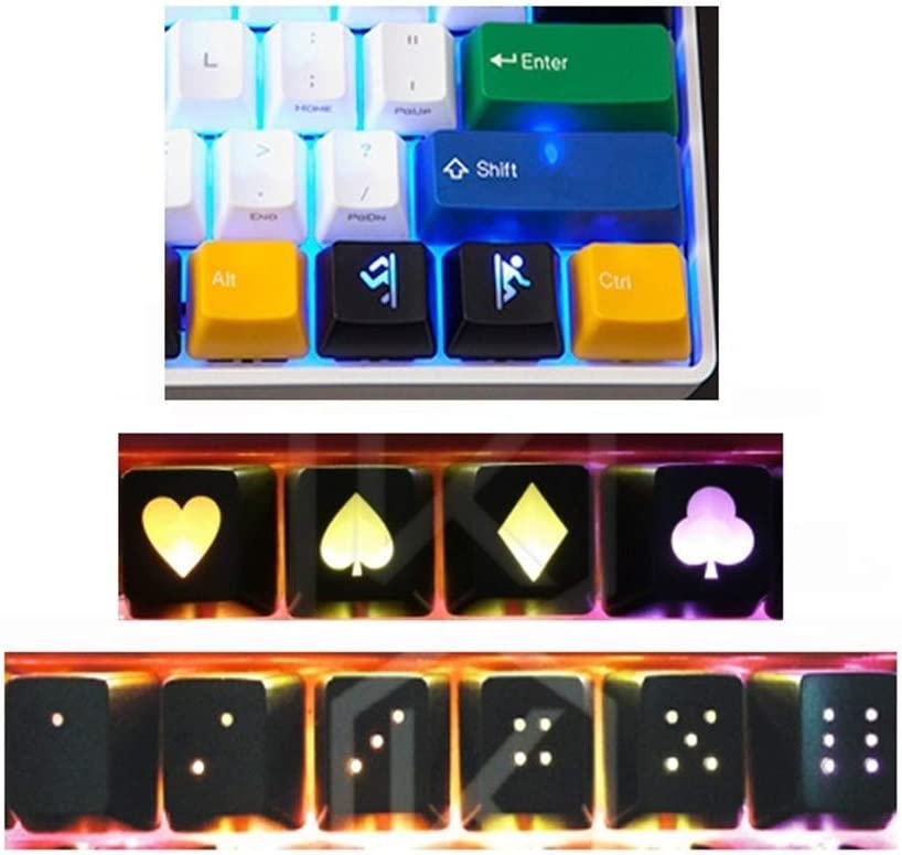Axis Body : Blue Switch, Color : 4pcs Customized Keyboard keycaps Keycaps Profile Laser-Etched ABS Shine Throuth for Switches Mechanical Keyboard