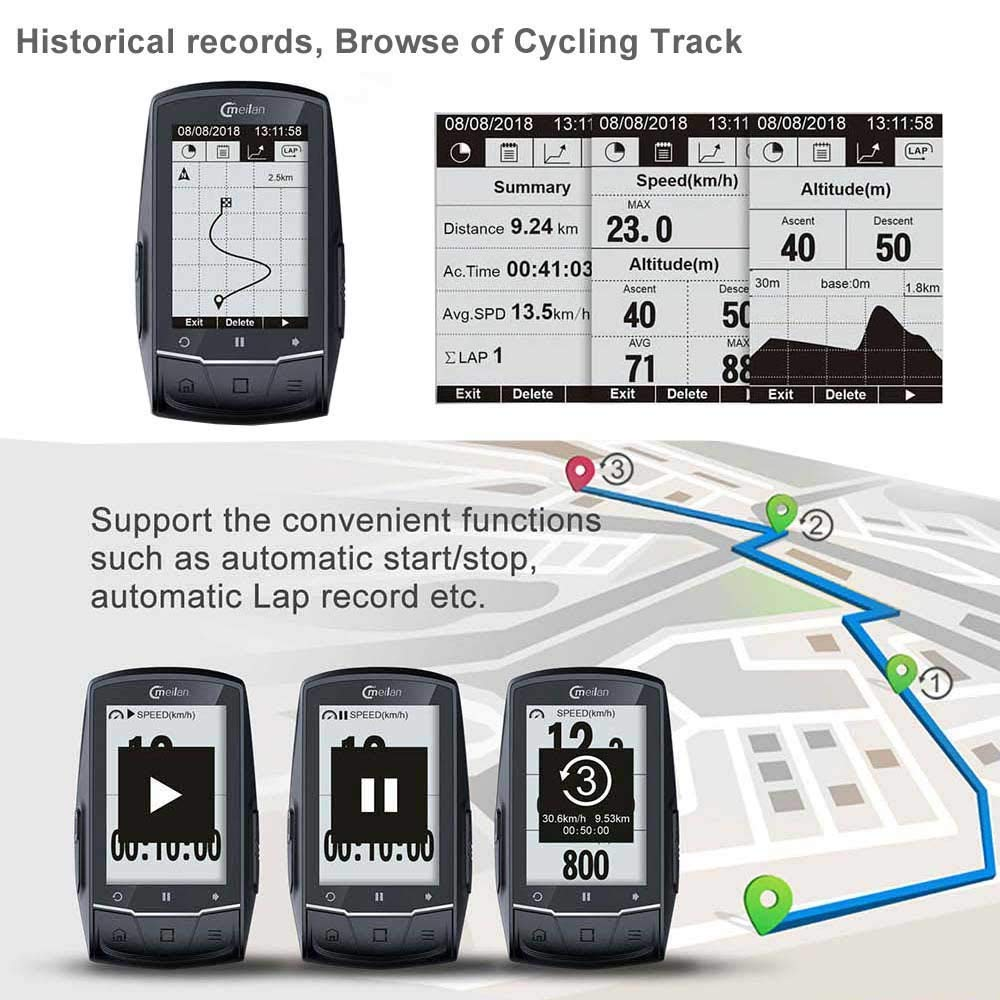 Meilan M1 GPS Cycling/Bike Computer Navigation Speedometer, Heart Rate and Power Compatible - Downloadable Data iOS,Android, Strava and Garmin Connect formats by CMeilan