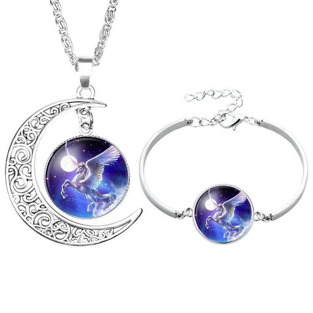 Parure de bijou Livecity é lé gante avec motif de lune et licorne - Collier et bracelet
