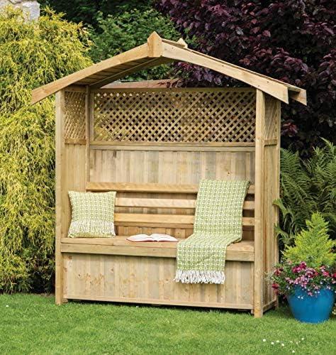 Asiento de jardín Arbour Pergola celosía madera banco de arco Corner Almacenamiento Muebles – 10 años de garantía contra rojo: Amazon.es: Jardín