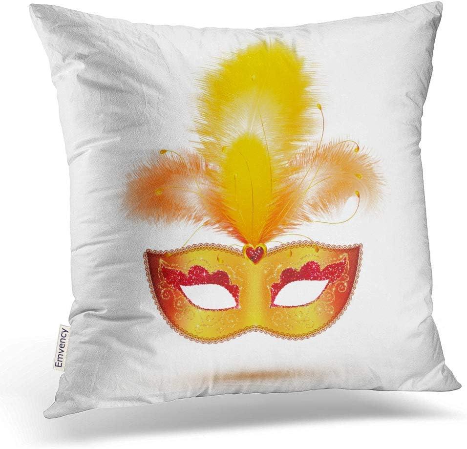Kinhevao Almohada Decorativa Cuadrada Máscara de Carnaval Dorada ...
