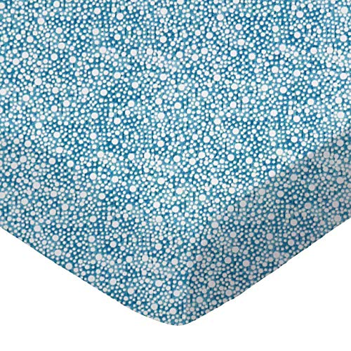 (SheetWorld 100% Cotton Percale Fitted Crib Toddler Sheet 28 x 52, Confetti Dots Blue, Made in USA)