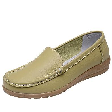 Yuncai Mode Klassisch Damen Erbsen Schuhe Freizeit Atmungsaktiv Bootsschuhe Flache Weinrot 39 uukEz