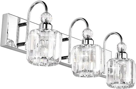 Ralbay Modern Led Crystal Bathroom Vanity Lights 3 Lights Stainless Steel Crystal Vanity Lights Over Mirror Modern Crystal Bathroom Vanity Lighting Fixtures Amazon Com
