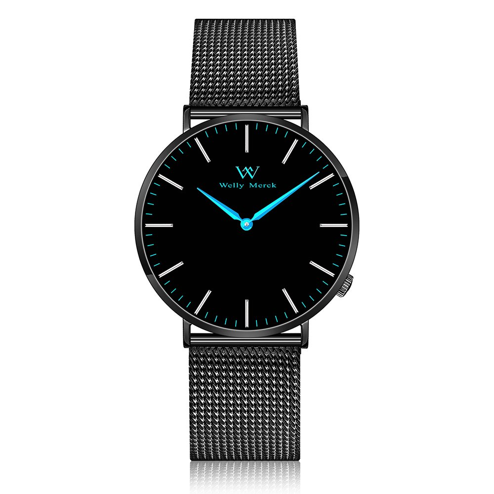 Welly Merck Swiss Movement Sapphire Crystal Women Luxury Watch Minimalist Ultra Thin Slim Analog Wrist Watch 18mm Black Stainless Steel Mesh Band Blue Hands 36mm Dial 164ft Water Resistant