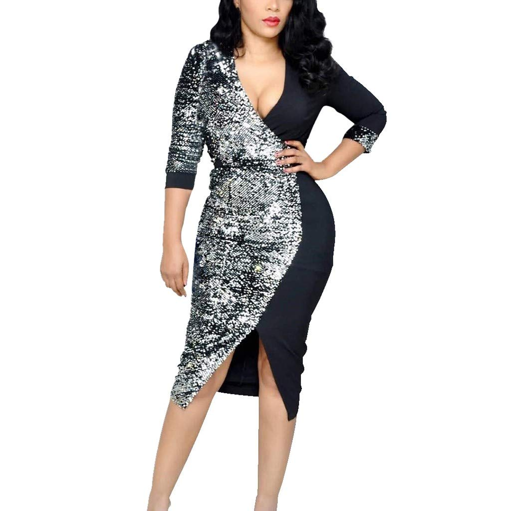 Women Long Sleeve Deep V-Neck Sequin Patchwork Split Bodycon Cocktail Party Mini Dress (Black, XXL) by Jieou