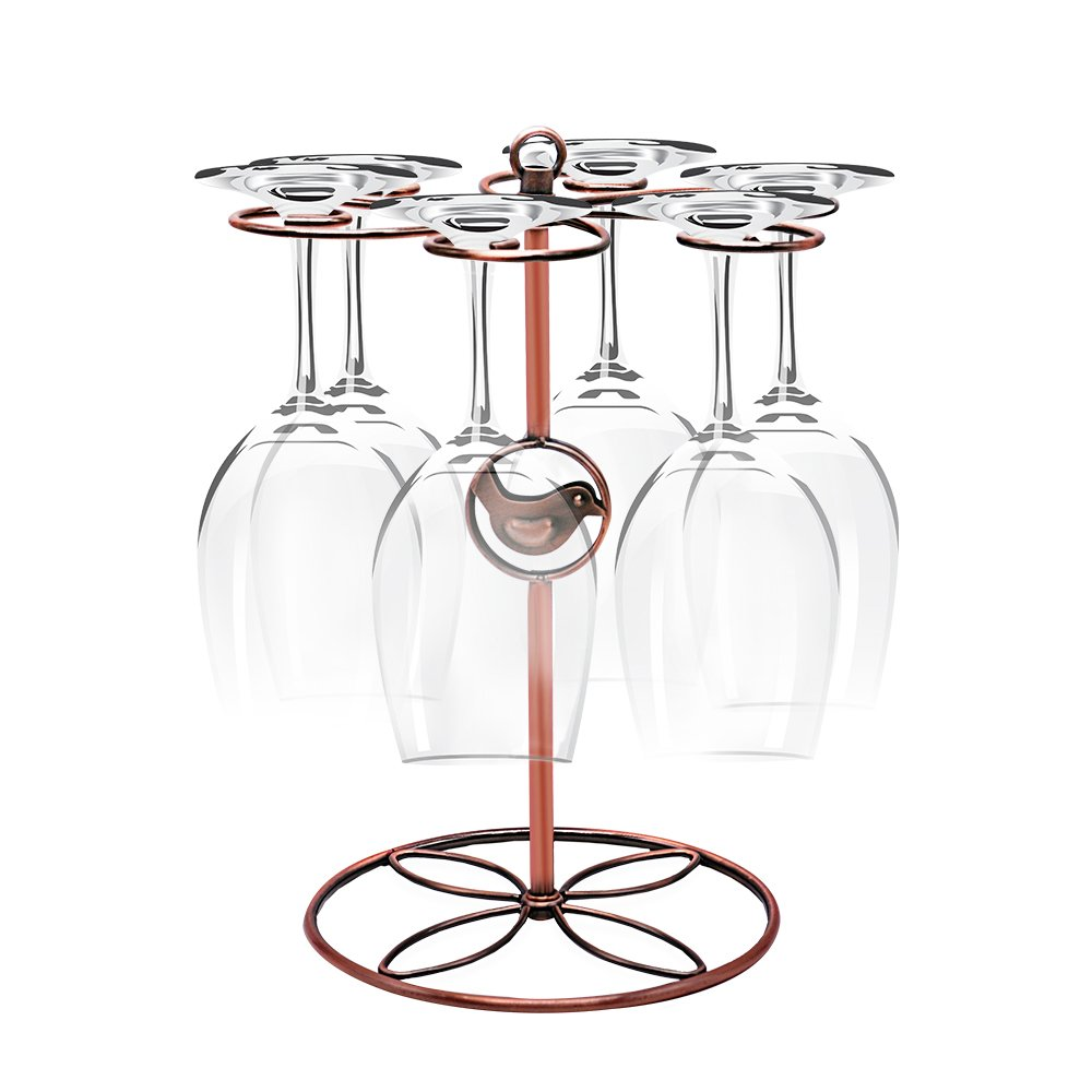 Sunnyac Classic Stainless Steel Wine Glass Cup Holder with 6 Hooks, Freestanding Tabletop Stemware Storage Rack with Air Dry System, Suit for Home and Bar Storage (Bronze 3)