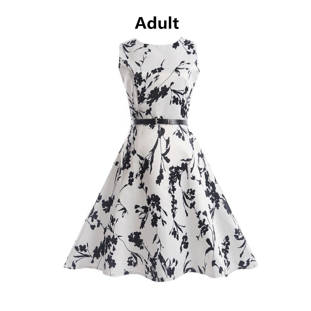 New Vintage Vintage Printing Sleeveless Lady Dress, SanCanSn Casual Bodycon Evening Party Prom Swing Dress (White,S)