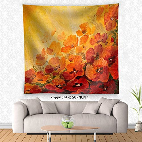 VROSELV custom tapestry Oil Painting - abstract illustration of poppies on a red-yellow background wallpaper - Fabric Wall Tapestry Home Decor - Crest Tapestry