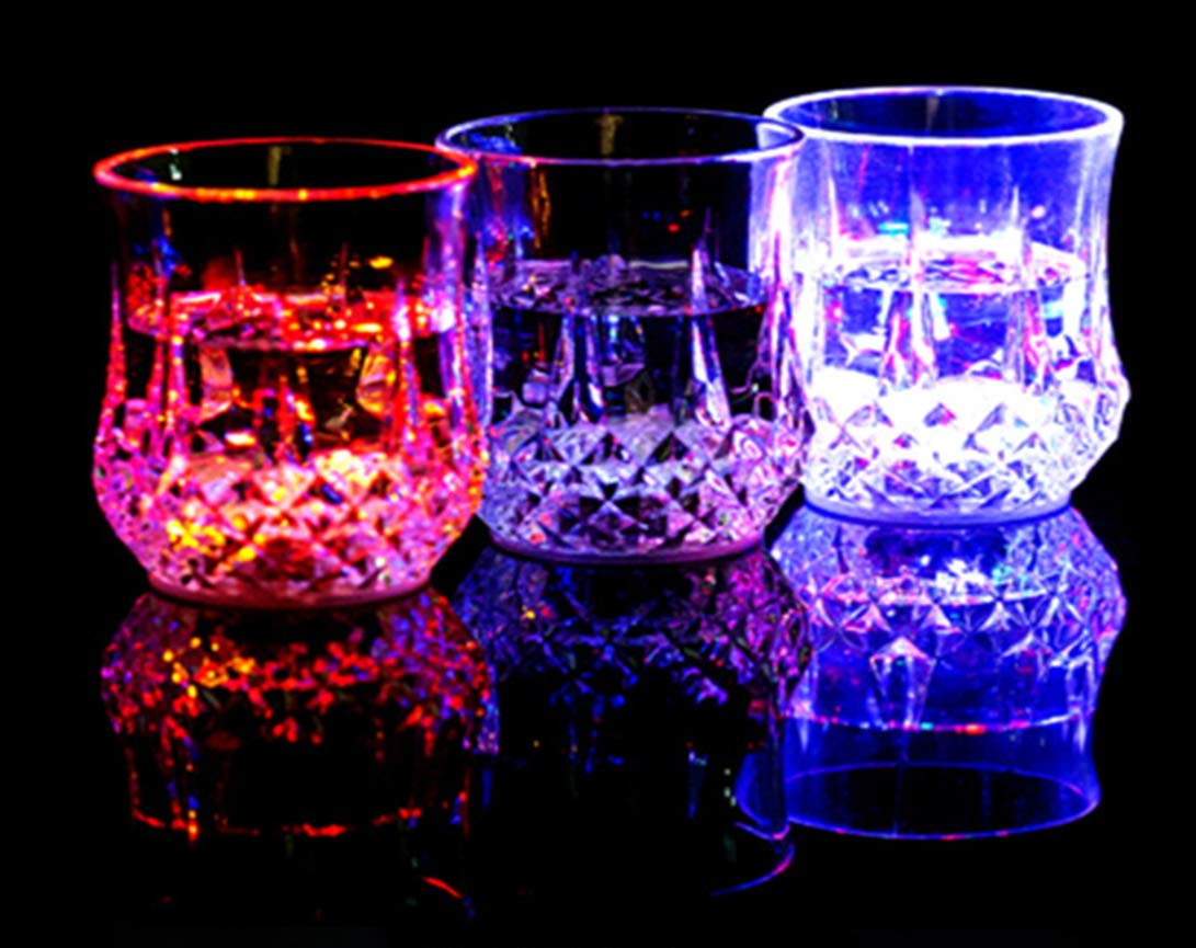 Set of 4 Flash Light up Cups LED Bar Night for Holiday Club Party