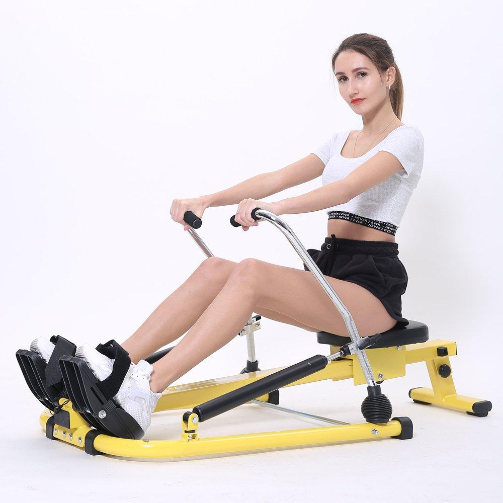 ISE Rudergerät Pro Hydraulik-Rower mit hydraulischer Widerstandsregulierung Gelb