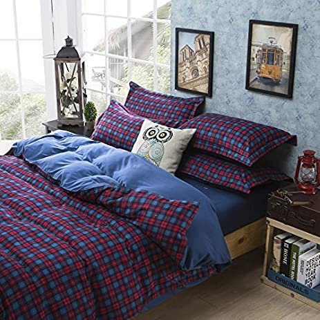 amazon com tartan purple bedding set modern bedding cheap bedding