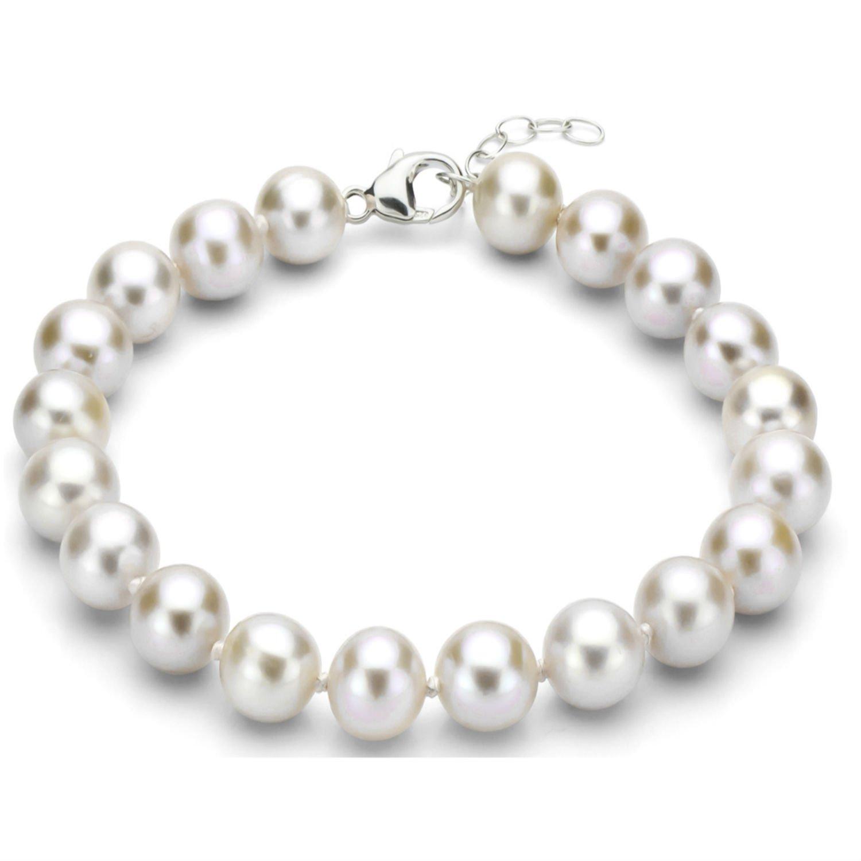 Sterling Silver 10-10.5mm White Freshwater Cultured High Luster Pearl Bracelet, 7.5'' + 1'' Extender