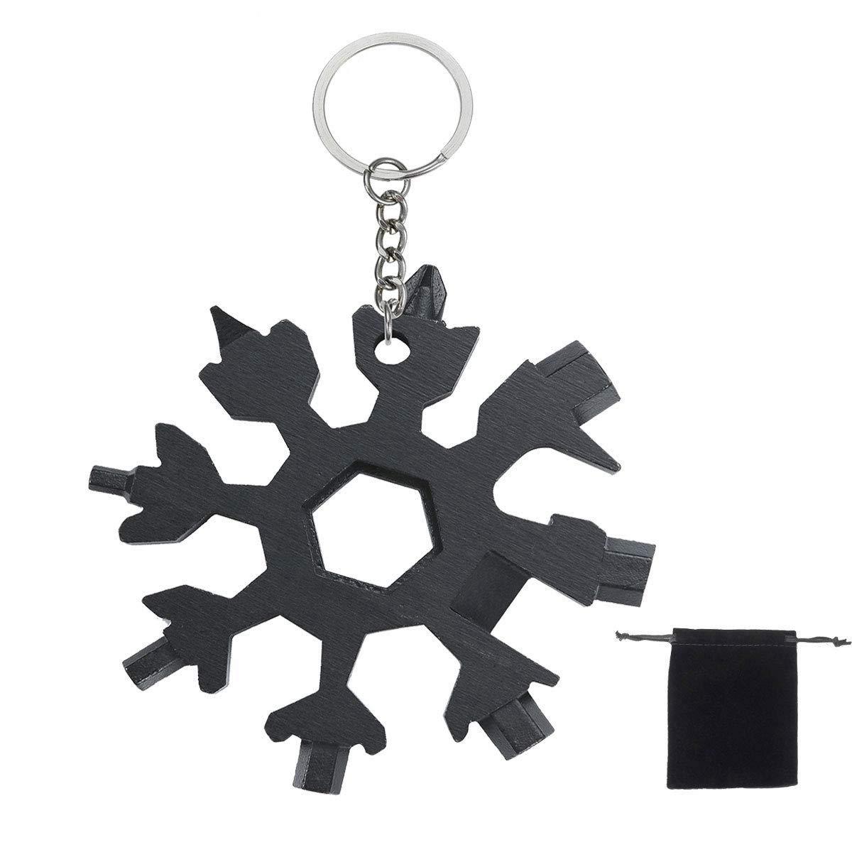 Lomio 18-en-1 multi-herramienta copo de combinada, acero inoxidable llavero + bolsa de tela negro portátil (Negro), especialmente para deportes al ...