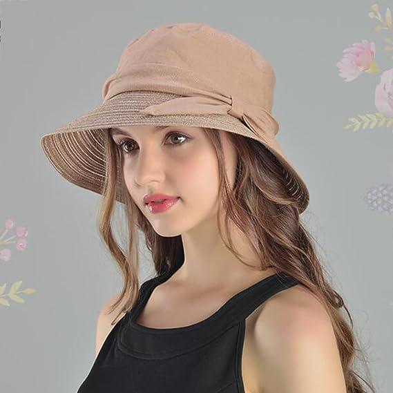 YXINY Viseras Primavera Y Verano Mujer Sombreros Algodón Y Lino Aire Libre  Visor Elegante Protección Solar Sombrero para El Sol Casual Vacaciones  Sombrero ... 2e3fec2a59b
