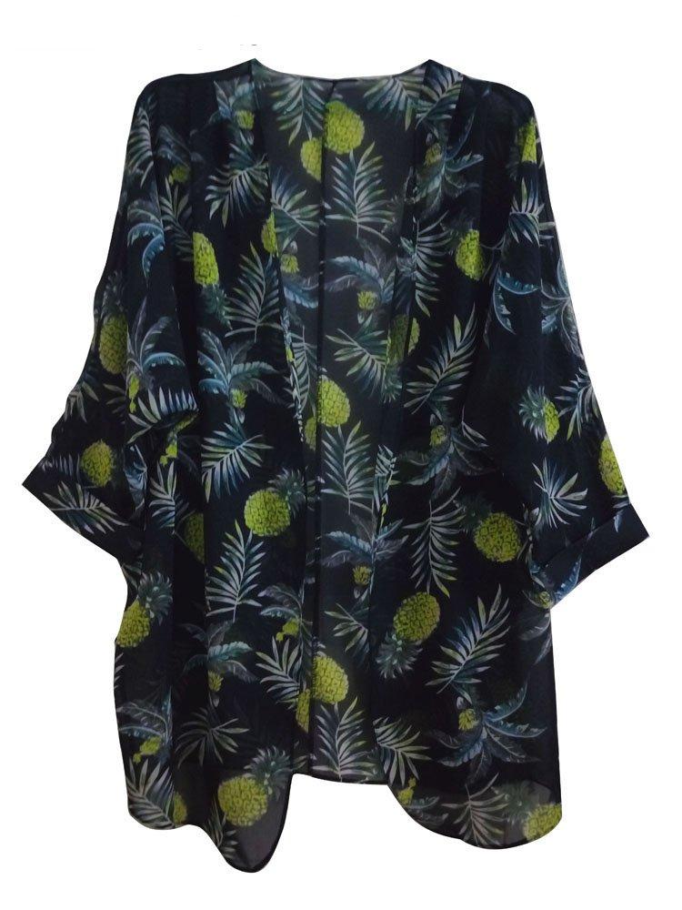 SimWish Women's Floral Printed Chiffon Kimono Cardigan Coverup Capes Tops (Large, Black-Pineapple)