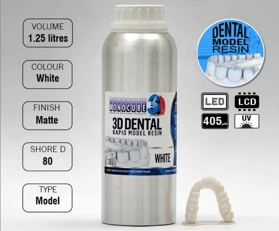 Resina Sla Monocure 3D Rapid Modelo Dentaire White (Blanco) 1,25 L ...