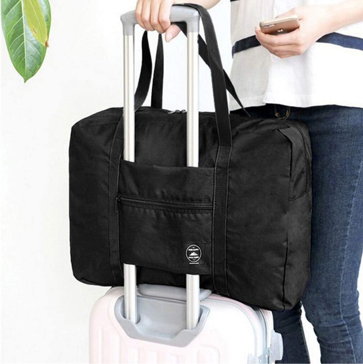 Foldable Travel Duffel Bag Tote Carry on Luggage Sport Duffle Weekender Overnight for Women and Girls Black