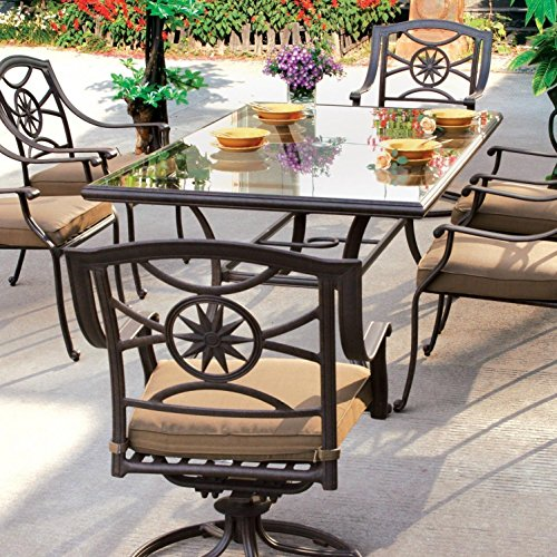 Darlee Ten Star Cast (Darlee Ten Star 7 Piece Cast Aluminum Patio Dining Set With Glass Top Table)