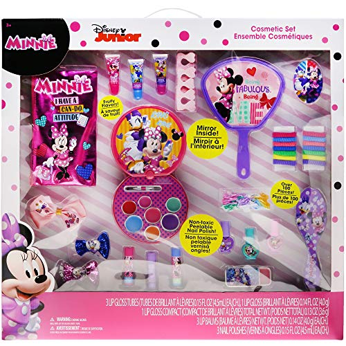 (Townley Girl Minnie Mouse Cosmetic Set with Lip Gloss, Nail Polish, Hair Accessories, Brush, Mirror, and)