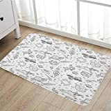Boys Bath Mat non slip Doodle Solar System Astronauts Space Crafts and Shooting Stars Science Fiction Theme Customize door mats for home Mat20''x31'' Black White