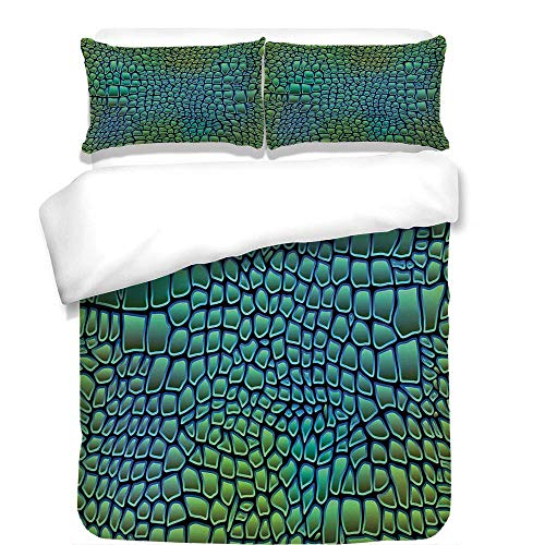 YCHY 3Pcs Duvet Cover Set,Abstract,Alligator Skin African Animal Crocodile Reptile Safari Wildlife Vibrant Artwork,Green Blue,Best Bedding Gifts for Family/Friends