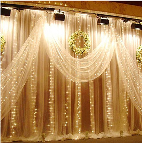 ZSTBT 300LED 9.84ft9.84ft/3m3m Window Curtain String Lights Icicle Fairy Lights Party Wedding Home Patio Lawn Garden Decorations(Warm white)