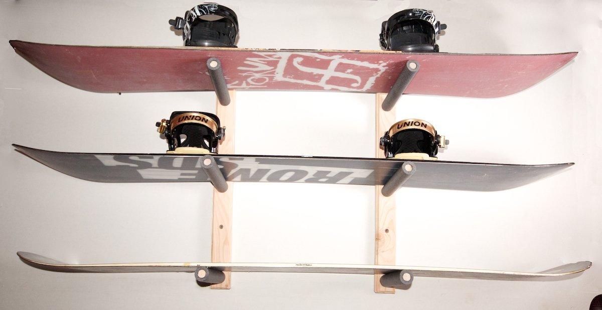 Snowboard Wall Rack Mount - Holds 3 Boards Pro Board Racks