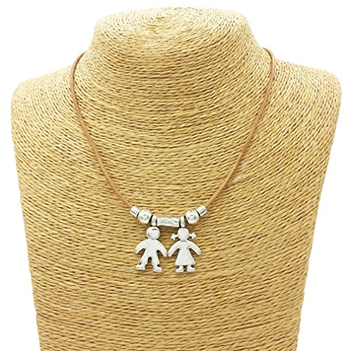 - Meolin Boy And Girl Charm Pendant Son and Daughter Necklaces,1 boy 1 girl,47cm+6.5cm