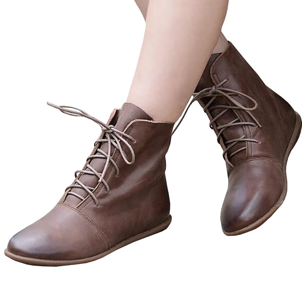 Huiyuzhi Womens Lace Up Ankle Boots Low Heel Faux Leather Flat Booties Shoes