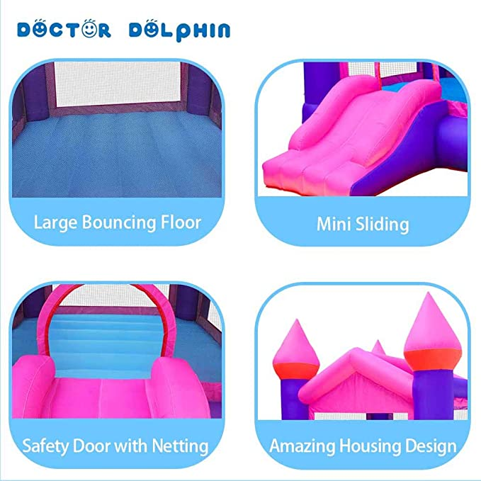 Doctor Dolphin Inflatable Bouncy Castle Kids Outdoor Bouncy House Toddler Bounce House with Air Blower for Kids Party