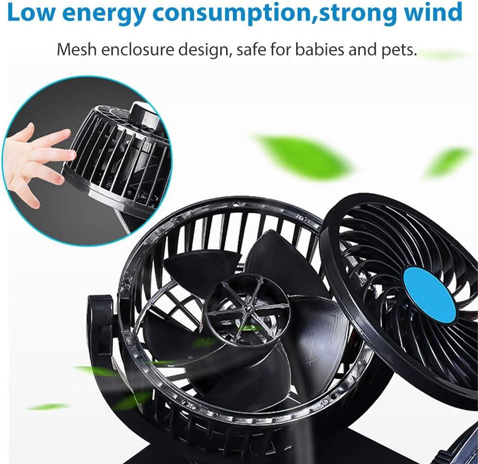 Car Fan Cooling Air Fan Dual Head Electric 2 Speed Regulation for Auto Vehicles SUV//RV//Boat 12v Car Fans for Back seat Fan Headrest 360 Degree Rotatable Car Fan