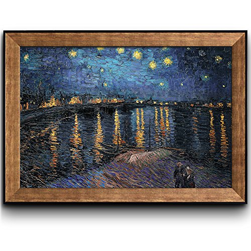 Art Framed Rhone (wall26 - Starry Night Over The Rhone by Vincent Van Gogh - Oil Painting, Impressionist, Artist - Framed Art Prints, Home Decor - 24x36 inches)