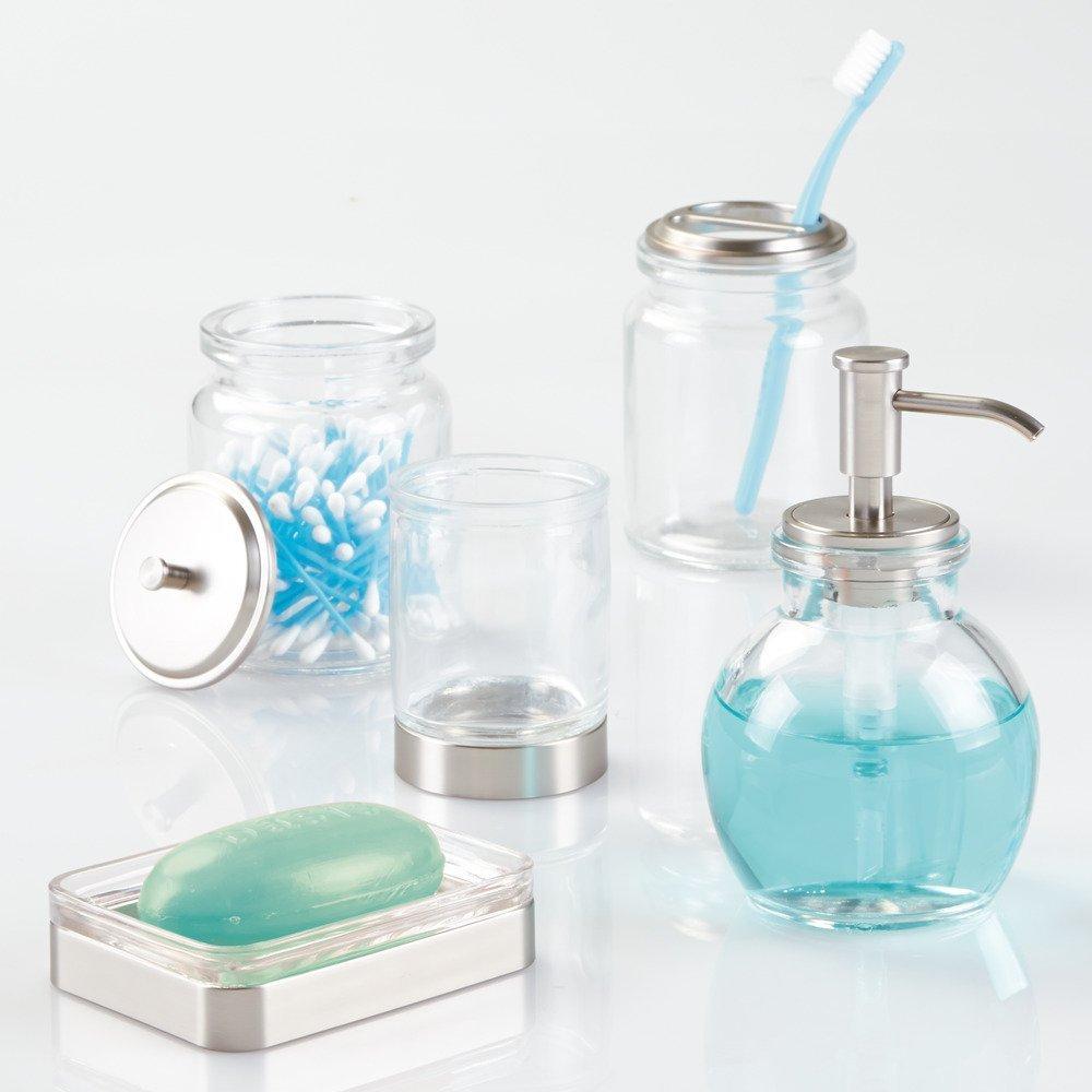 InterDesign Westport Glass Soap Dispenser Pump for Kitchen or Bathroom Countertops Clear//Brushed